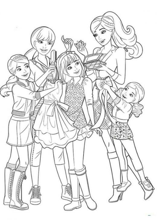 Kolorowanka Barbie z dziećmi