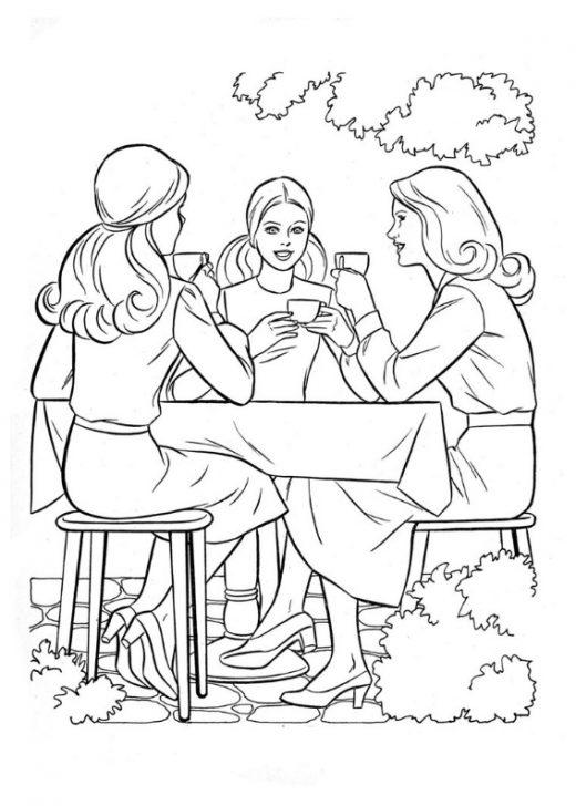 Kolorowanki Barbie spotkanie przy herbatce