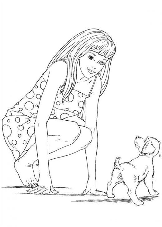 Kolorowanka Barbie z psem