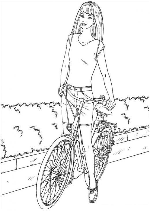 Kolorowanka Barbie na rowerze