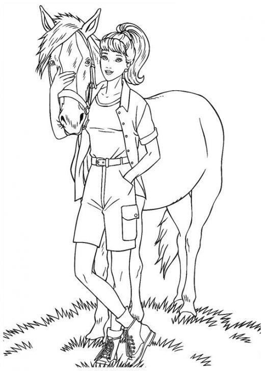 Kolorowanka Barbie z koniem