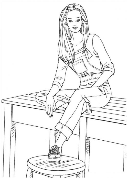 Kolorowanka Barbie na ławeczce