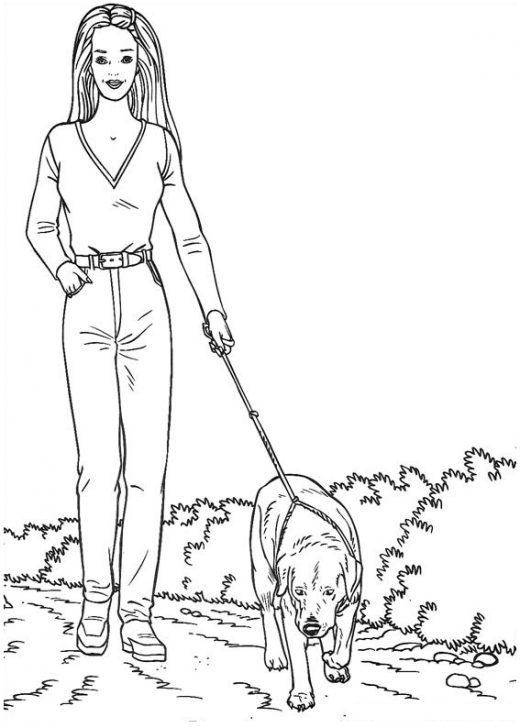 Kolorowanka Barbie na spacerze z psem