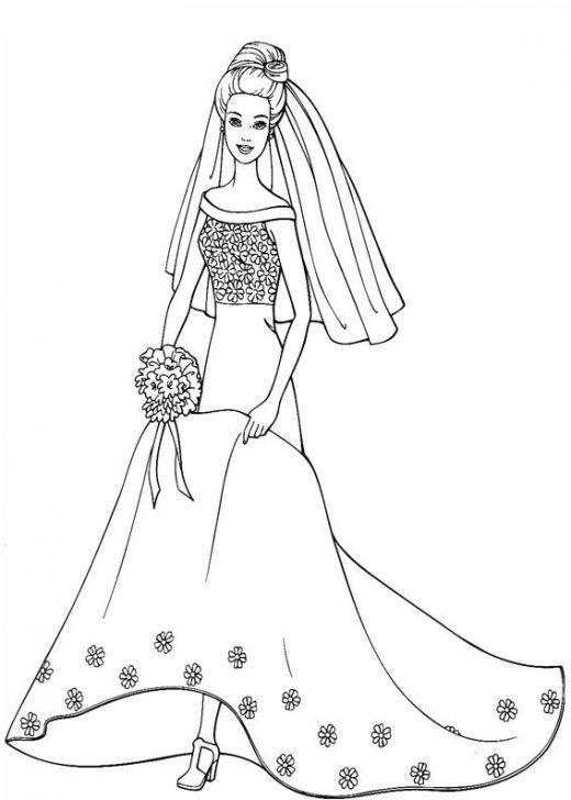 Kolorowanka Barbie w sukni ślubnej