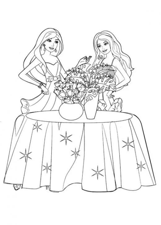 Kolorowanka Barbie i Bukiet Kwiatów