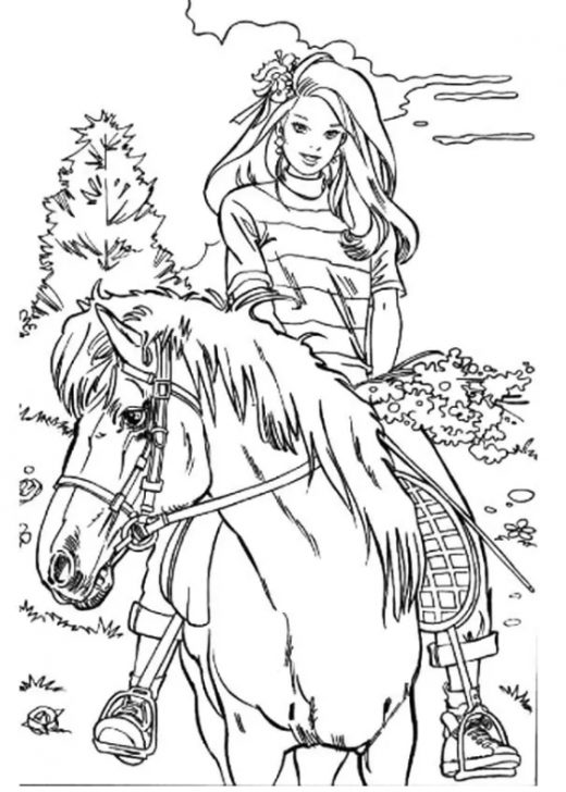 Kolorowanka Barbie przejażdżka konna