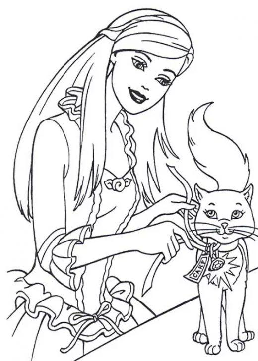 Kolorowanka Barbie z kotkiem