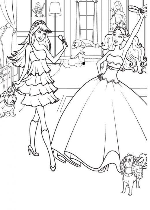 Kolorowanka Barbie w sukni