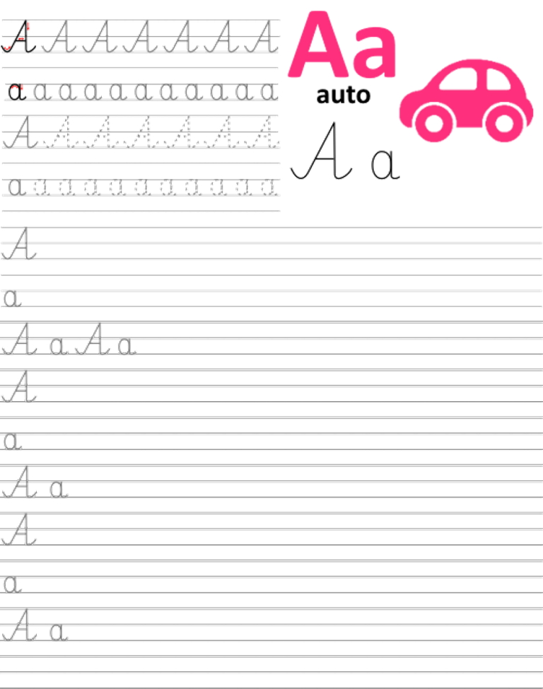 Formularz a4 do nauki pisania liter, nauka pisania literki a
