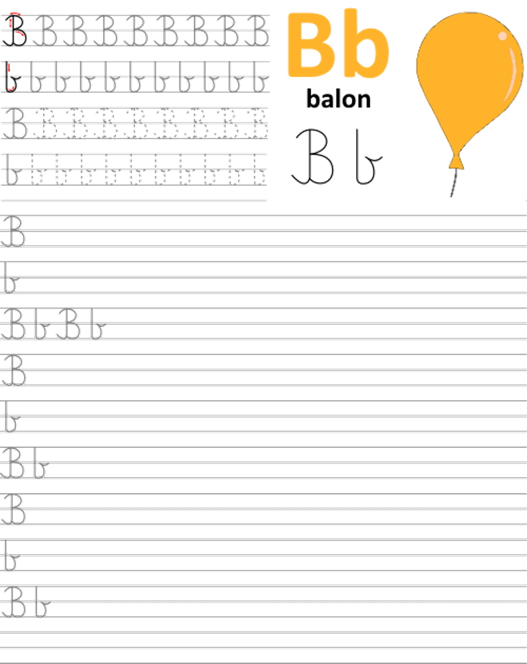 Formularz a4 do nauki pisania liter, nauka pisania literki b
