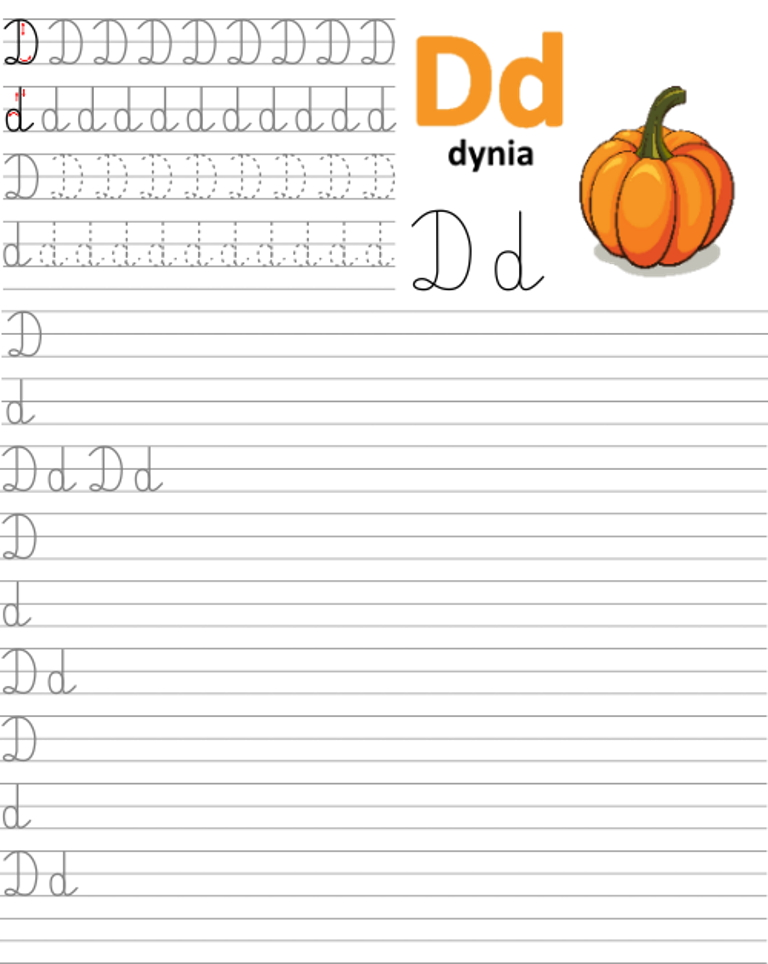 Formularz a4 do nauki pisania liter, nauka pisania literki d