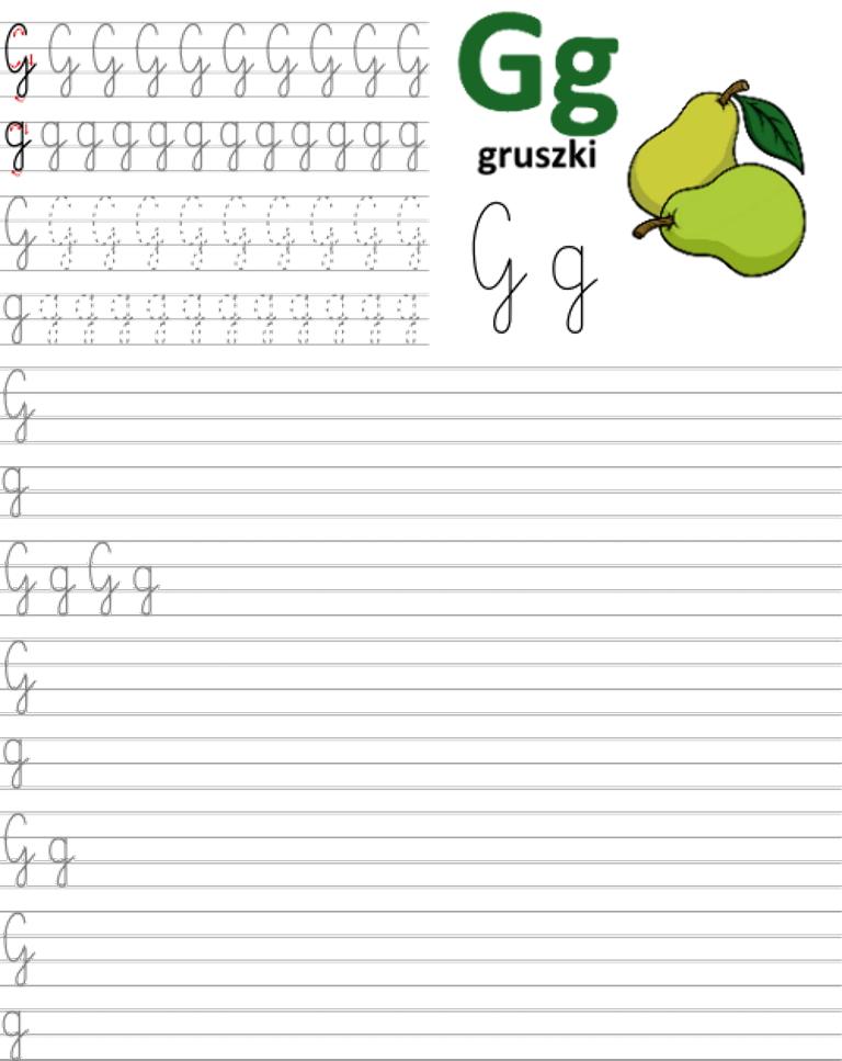 Formularz a4 do nauki pisania liter, nauka pisania literki g
