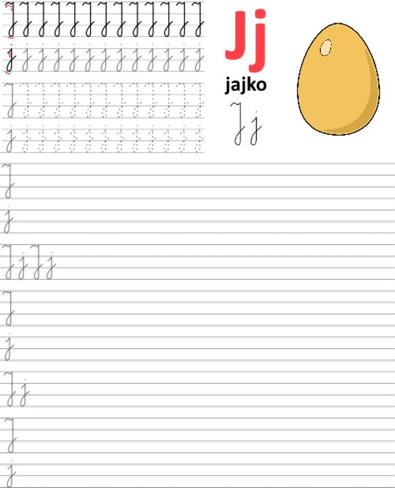 Formularz a4 do nauki pisania liter, nauka pisania literki j