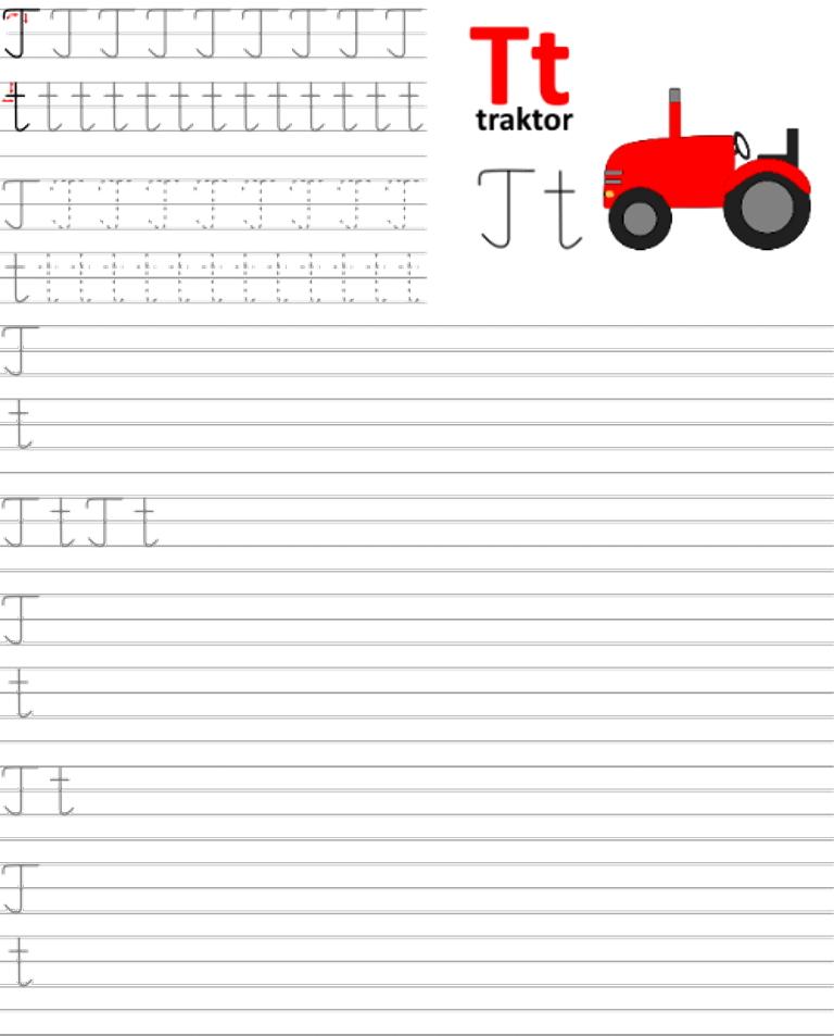 Formularz a4 do nauki pisania liter, nauka pisania literki t