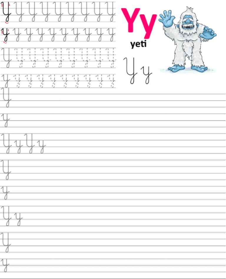 Formularz a4 do nauki pisania liter, nauka pisania literki y
