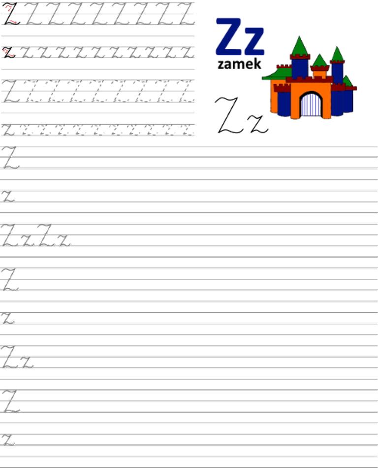 Formularz a4 do nauki pisania liter, nauka pisania literki z