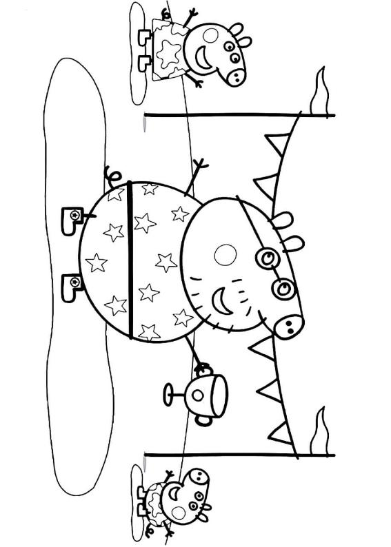 Świnka Pepa kolorowanka do wydruku. Drukuj i pokoloruj kolorowankę przedstawiającą Świnkę Pepę