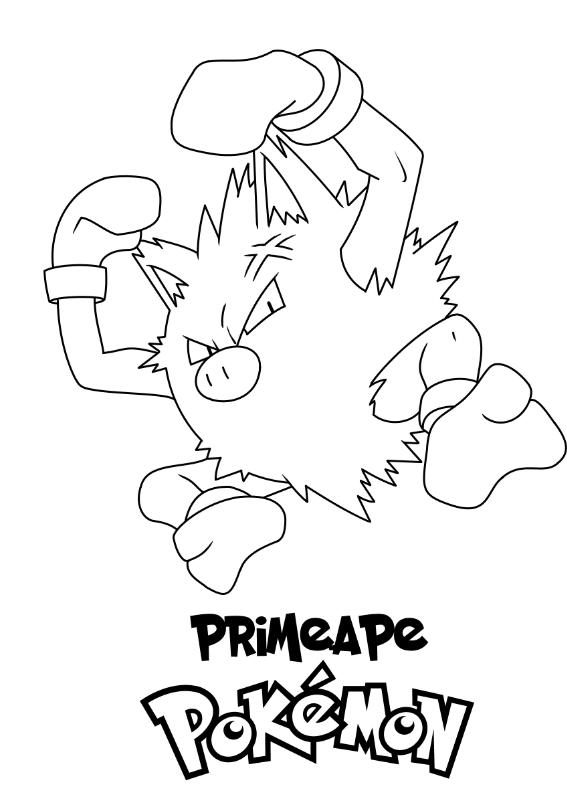 Pokemon Primeape Kolorowanka Do wydruku