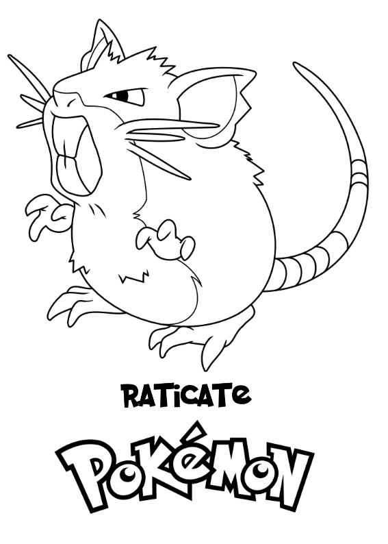 Pokemon Raticate Kolorowanka Do wydruku